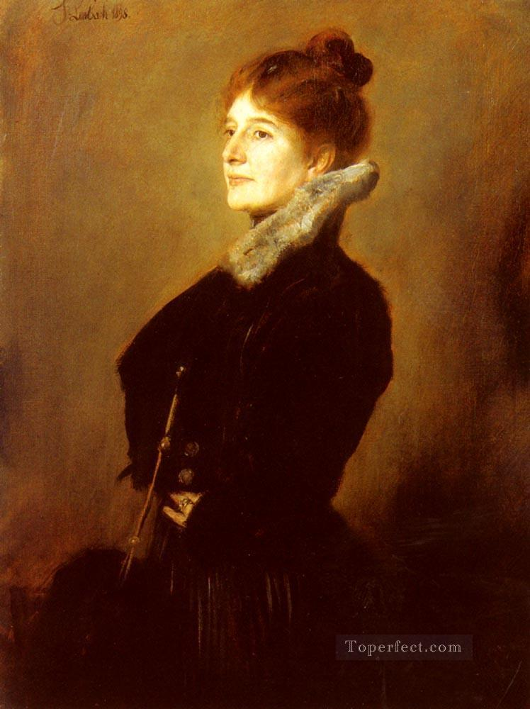 Portrait Of A Lady Wearing A Black Coat With Fur Collar Franz von Lenbach Oil Paintings