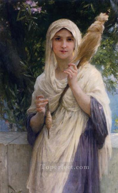 The Spinner By The Sea realistic girl portraits Charles Amable Lenoir Oil Paintings