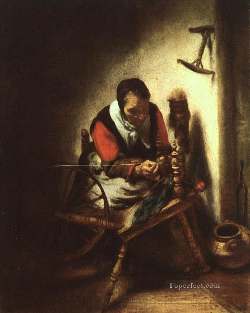 A Woman Spinning Baroque Nicolaes Maes Oil Paintings