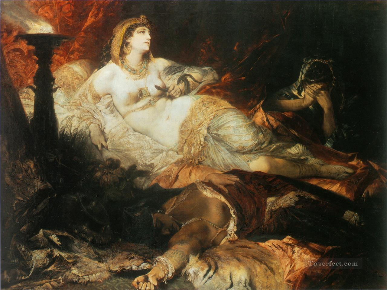 der tod der kleopatra nude Hans Makart Oil Paintings