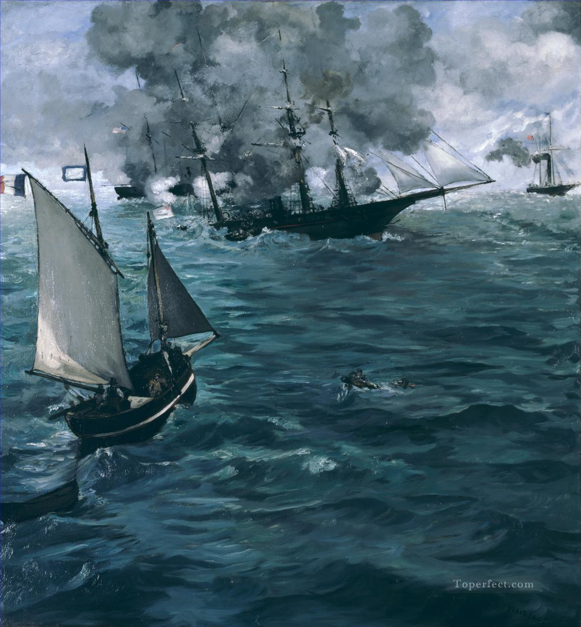 Battle of Kearsage and Alabama Eduard Manet Oil Paintings