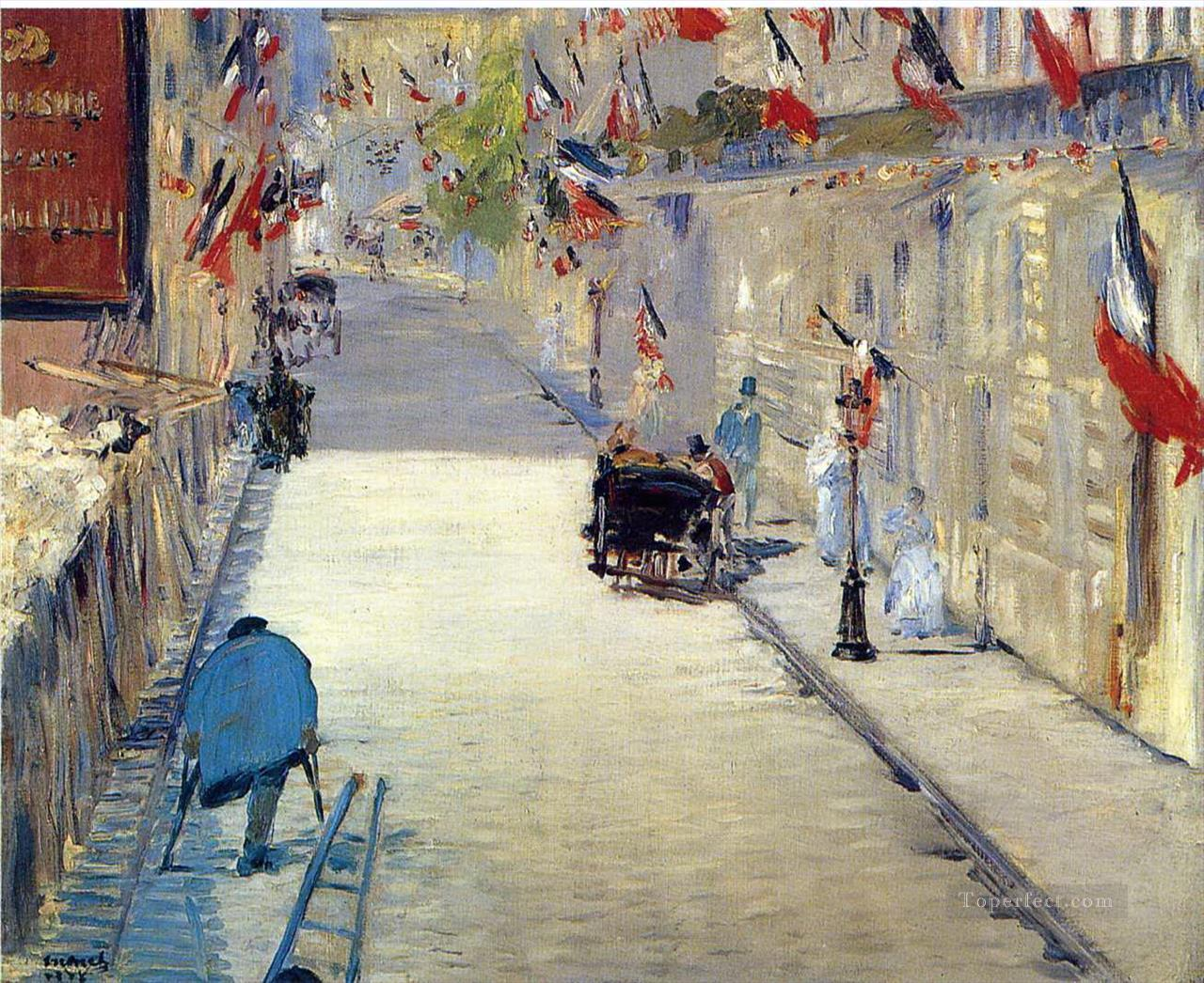 Rue Mosnier decorated with Flags Eduard Manet Oil Paintings