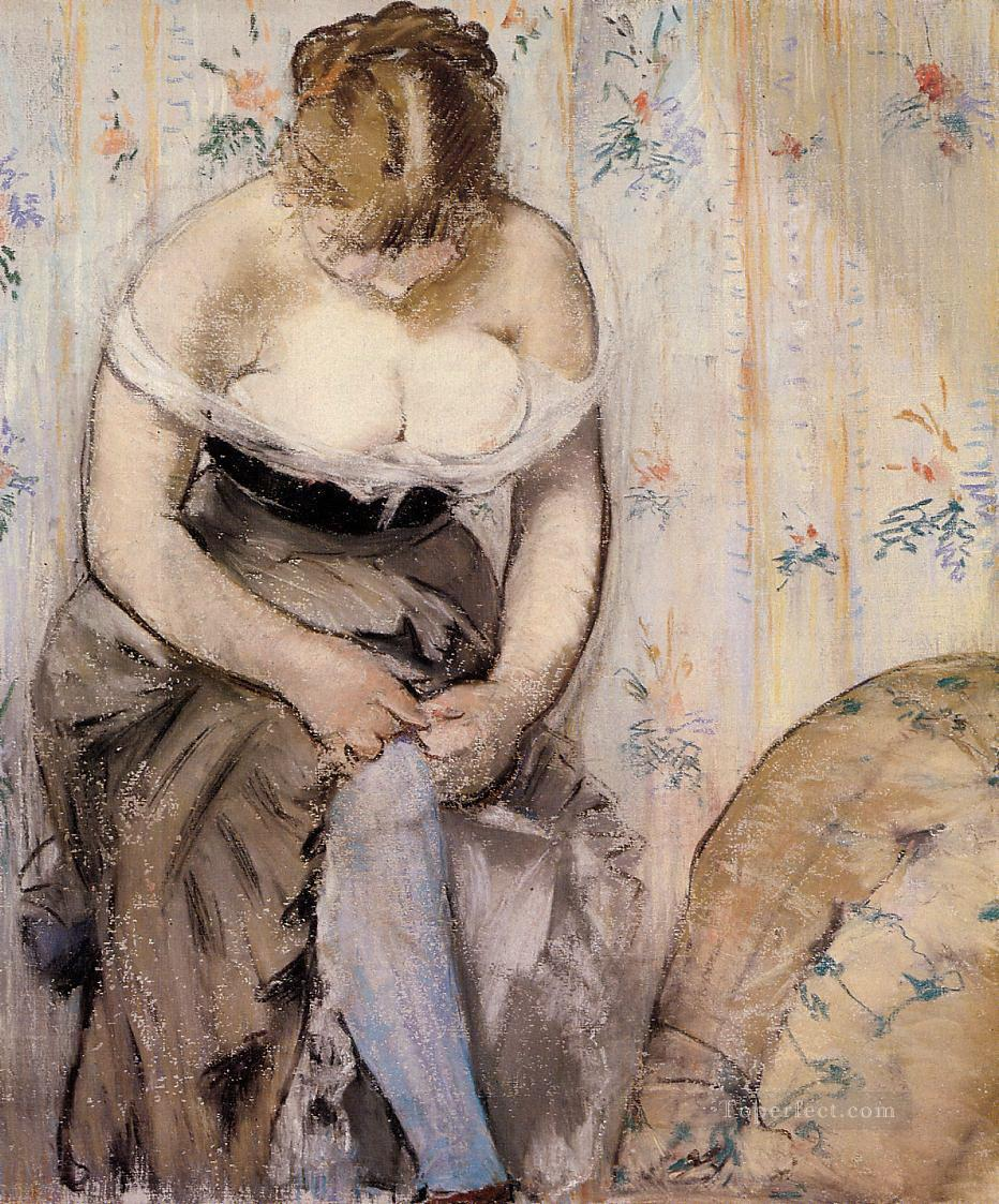 Woman fastening her garter Eduard Manet Oil Paintings