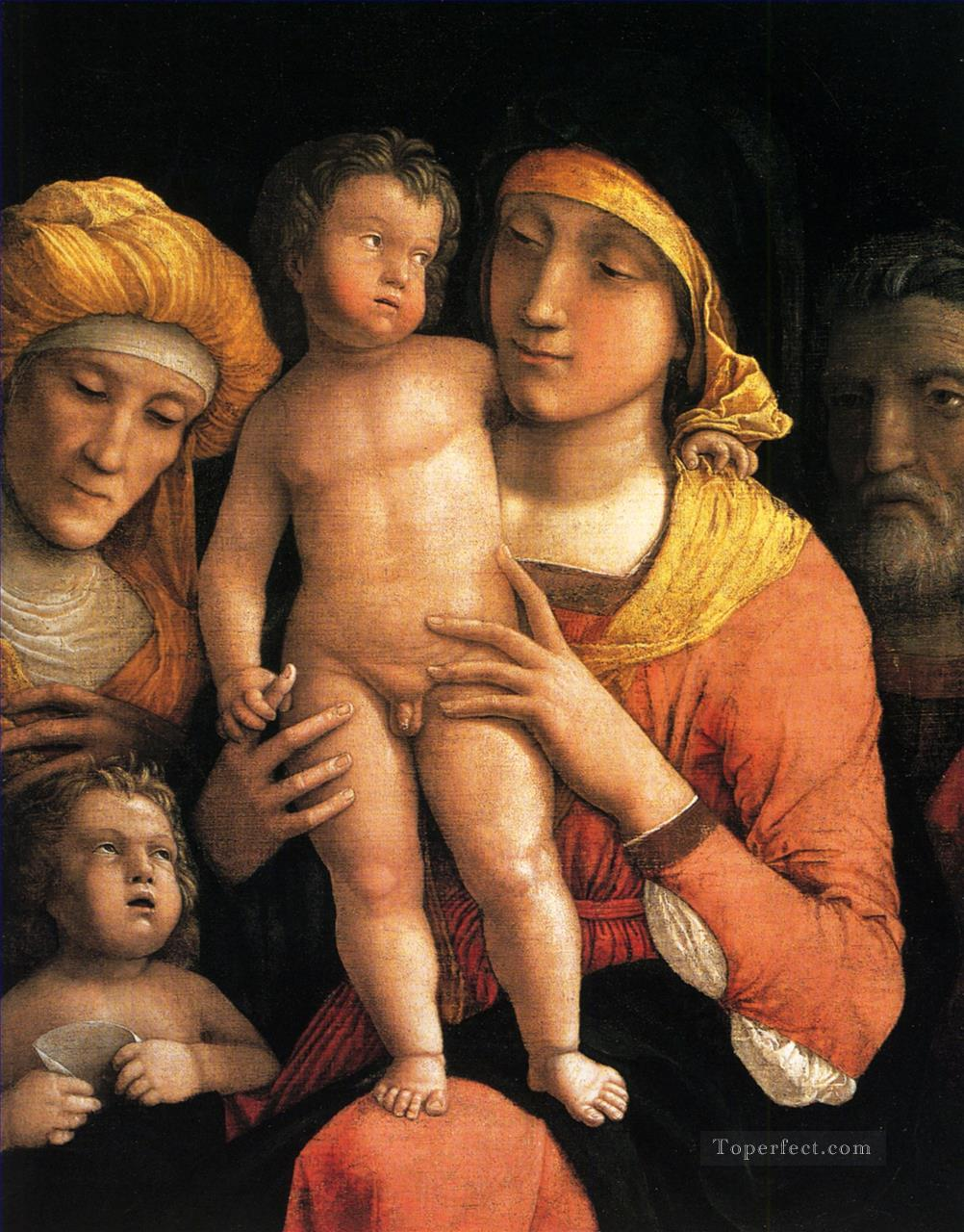 The holy family with saints Elizabeth and the infant John the Baptist Renaissance painter Andrea Mantegna Oil Paintings