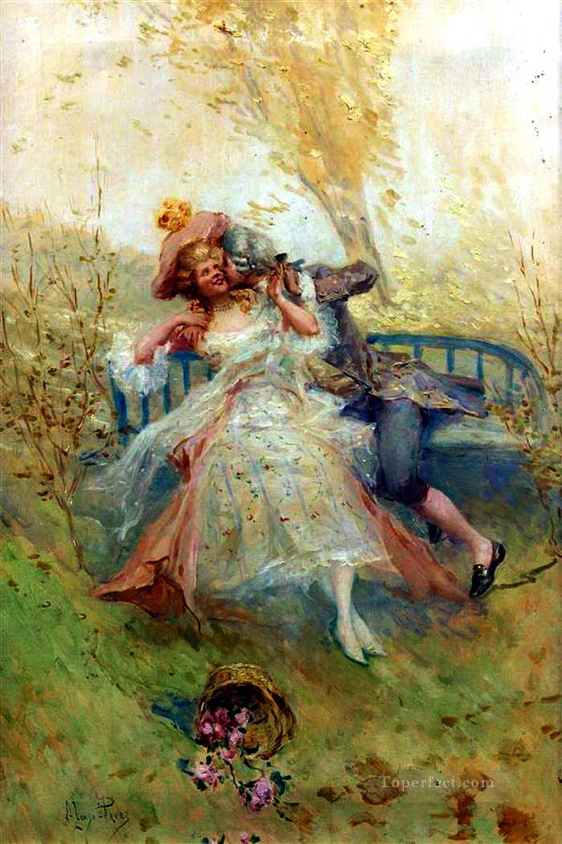 Lovers on a Bench Spain Bourbon Dynasty Mariano Alonso Perez Oil Paintings