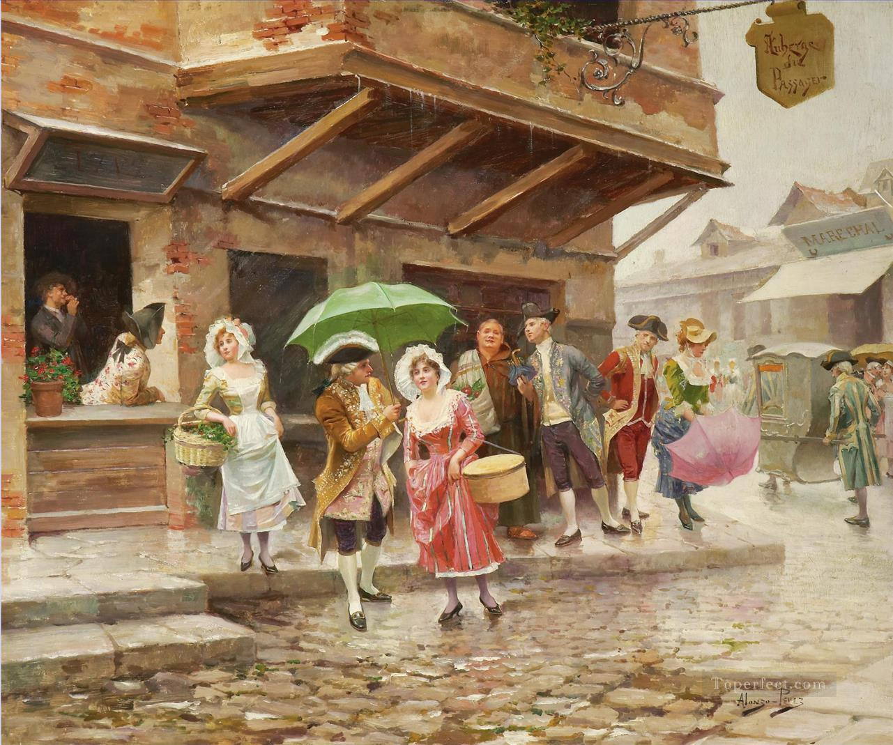 PASEO MATINAL A MORNING WALK Spain Bourbon Dynasty Mariano Alonso Perez Oil Paintings