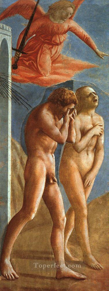 The Expulsion from the Garden of Eden Christian Quattrocento Renaissance Masaccio Oil Paintings