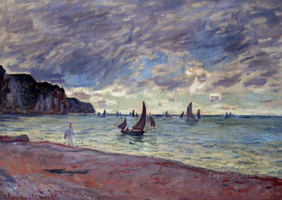 Fishing Boats by the Beach and the Cliffs of Pourville Claude Monet Oil Paintings