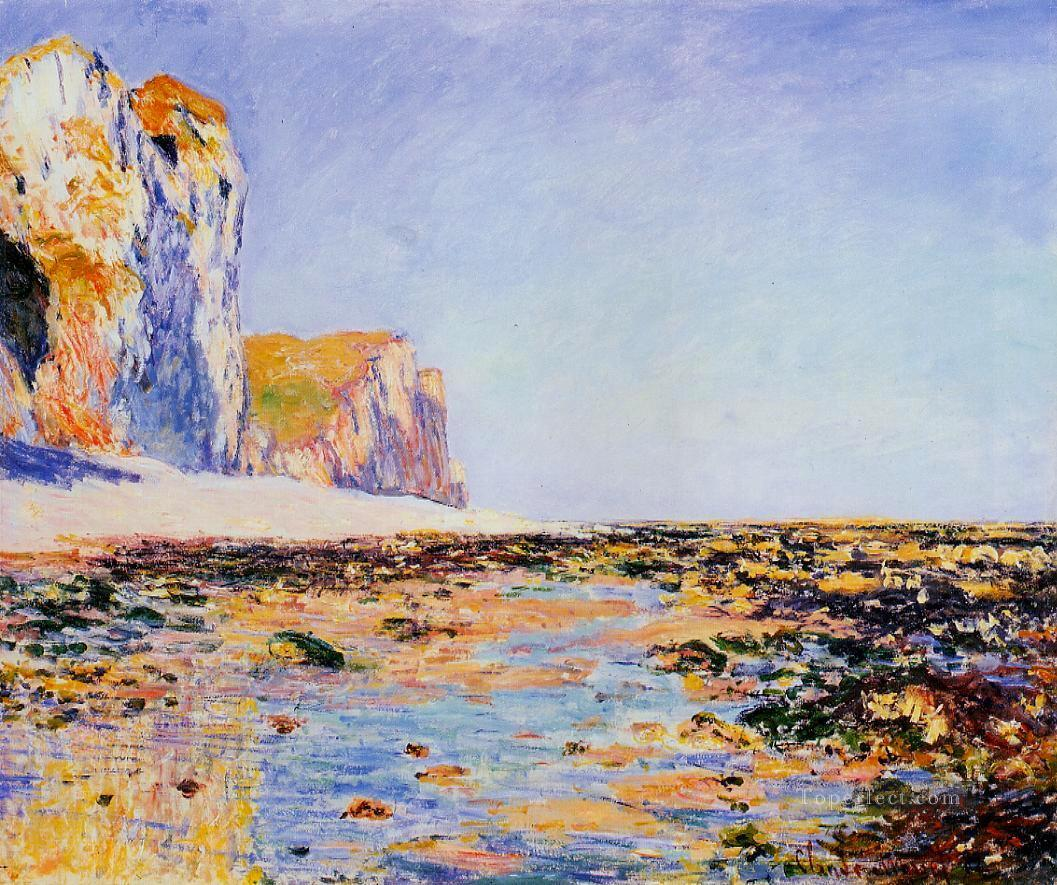 Beach and Cliffs at Pourville Morning Effect Claude Monet Oil Paintings