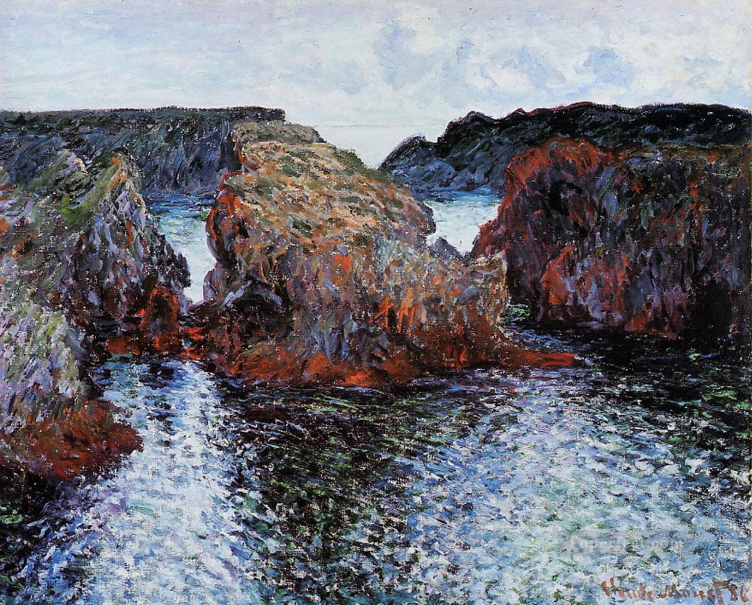 BelleIle Rocks at PortGoulphar 莫奈油画、国画
