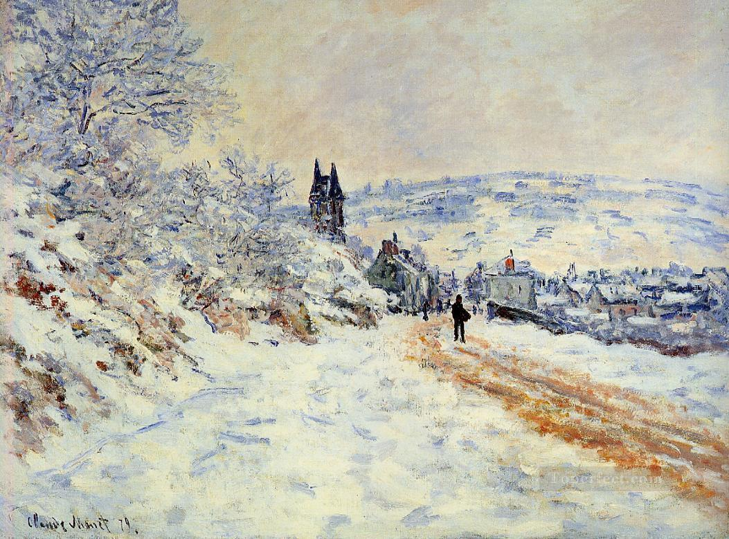 The Road to Vetheuil Snow Effect Claude Monet Oil Paintings