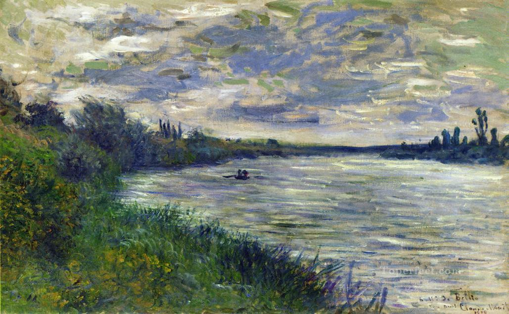 The Seine near Vetheuil Stormy Weather Claude Monet Oil Paintings