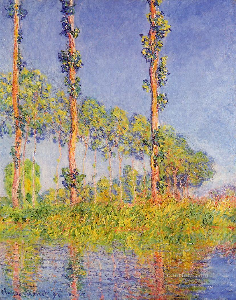 Three Poplar Trees Autumn Effect Claude Monet Oil Paintings