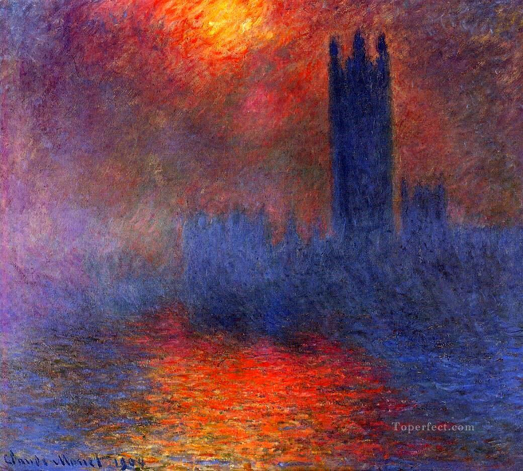 Houses of Parliament Effect of Sunlight in the Fog Claude Monet Oil Paintings
