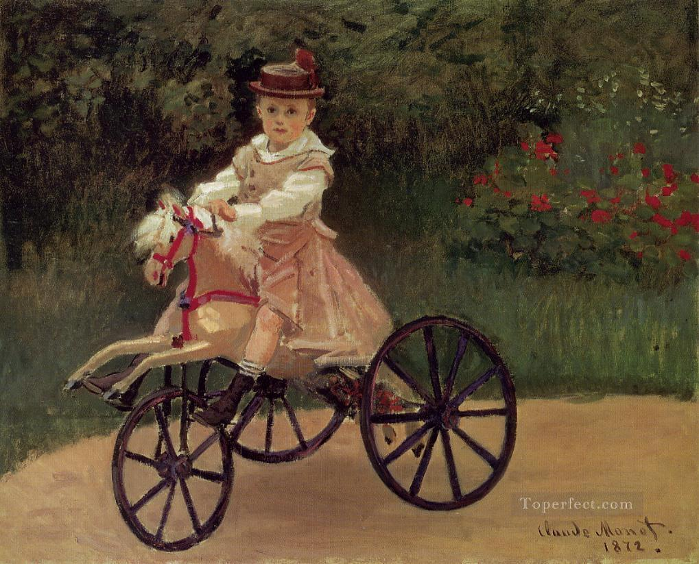 Jean Monet on His Horse Tricycle Claude Monet Oil Paintings