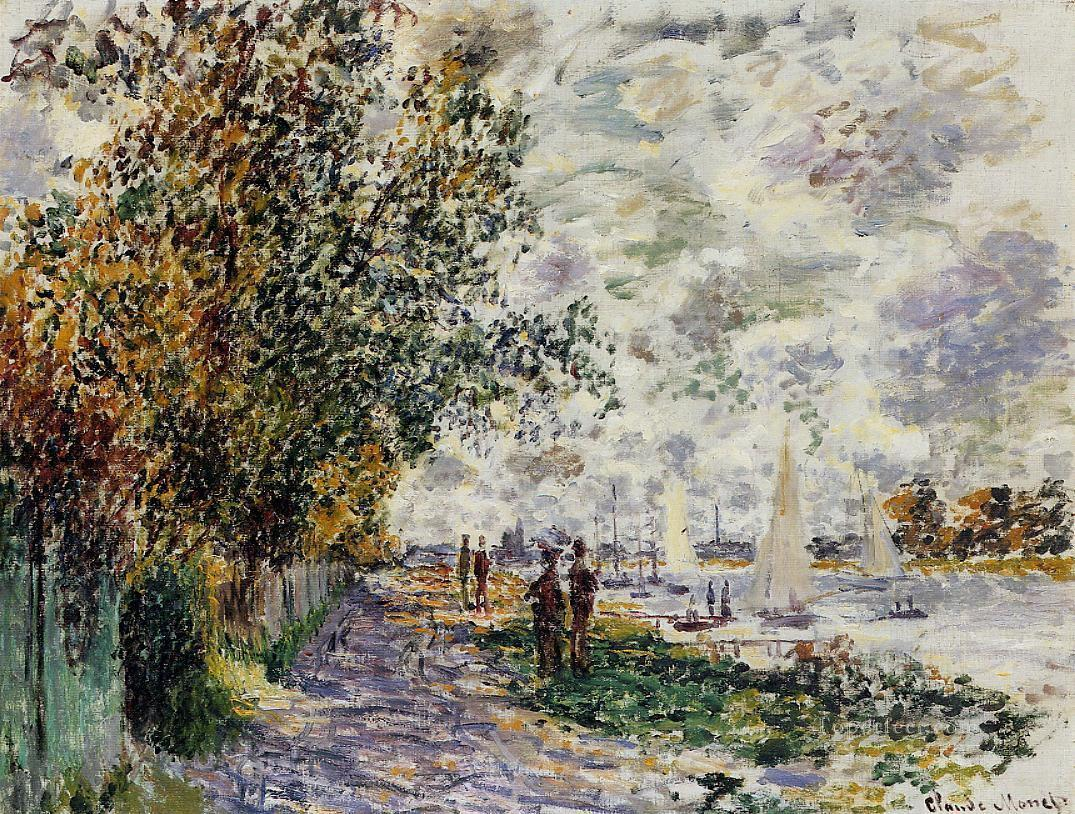 The Riverbank at Petit Gennevilliers Claude Monet Oil Paintings