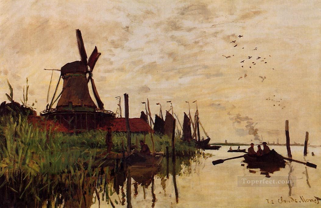 Windmill at Zaandam Claude Monet Oil Paintings