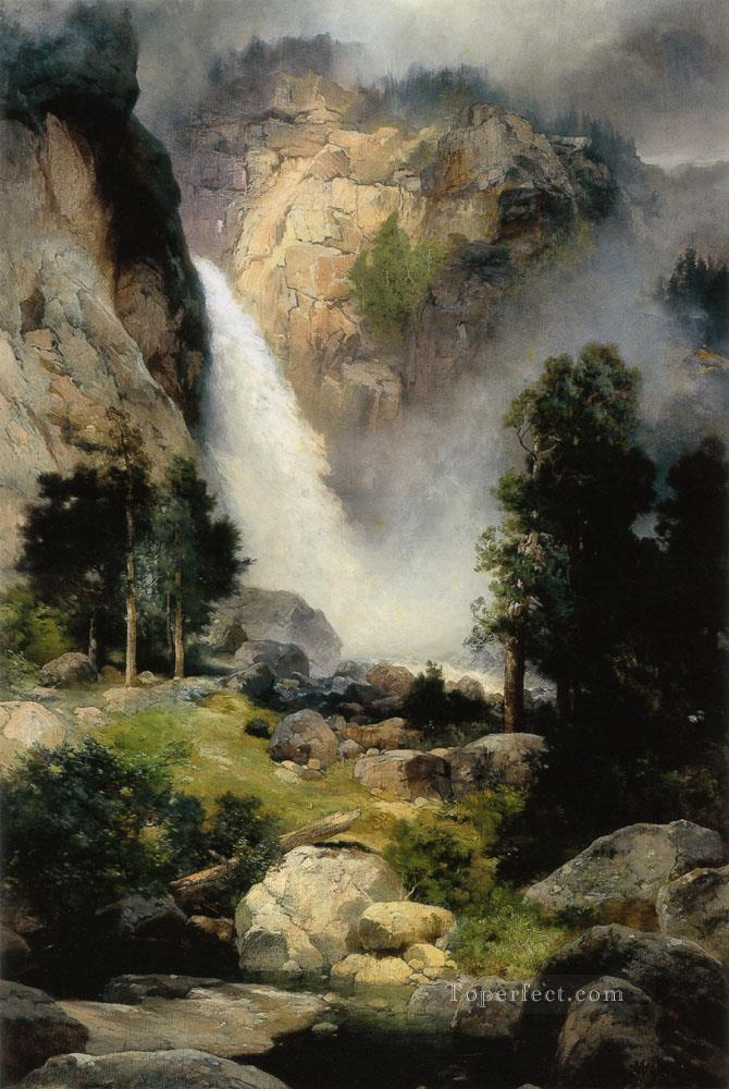 Cascade Falls Yosemite Rocky Mountains School Thomas Moran Oil Paintings