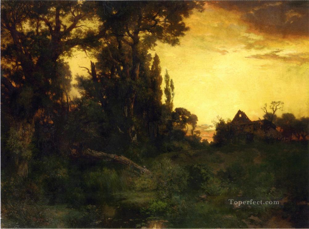 Twilight Rocky Mountains School Thomas Moran Oil Paintings