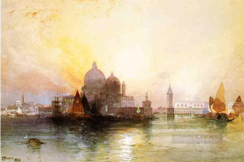 A View of Venice seascape boat Thomas Moran Oil Paintings