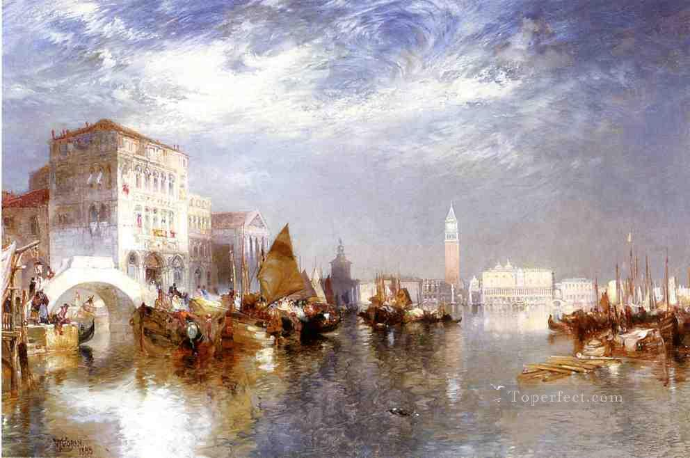 Glorious Venice boat Thomas Moran Oil Paintings