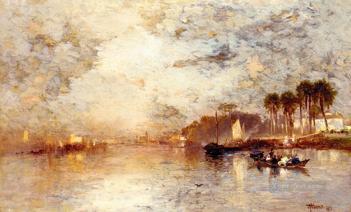 On the St Johns River Florida seascape Thomas Moran Oil Paintings