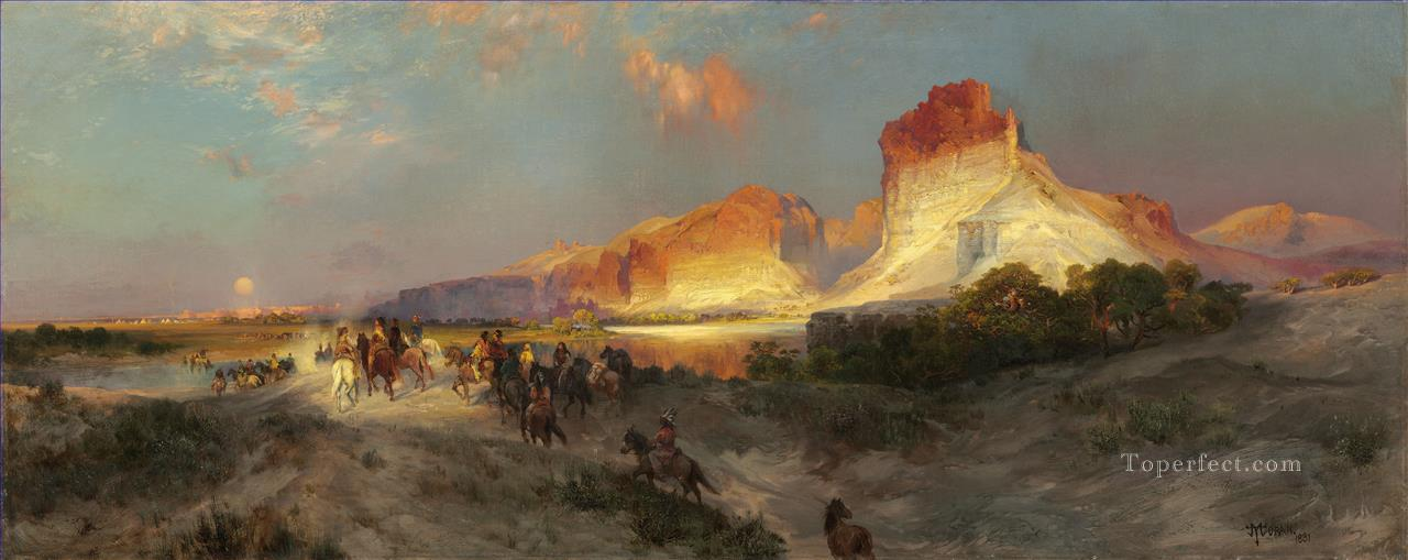 Green River Cliffs Wyoming scenery Thomas Moran Oil Paintings