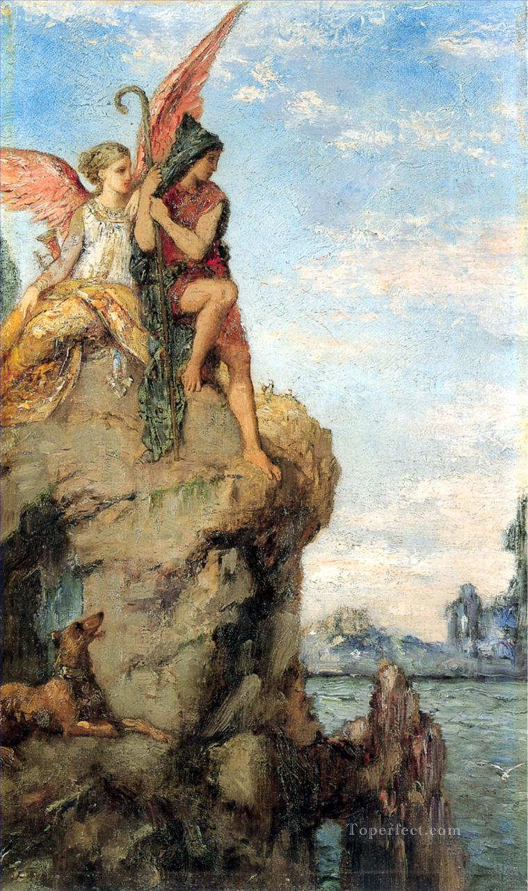 hesiod and the muse Symbolism biblical mythological Gustave Moreau Oil Paintings