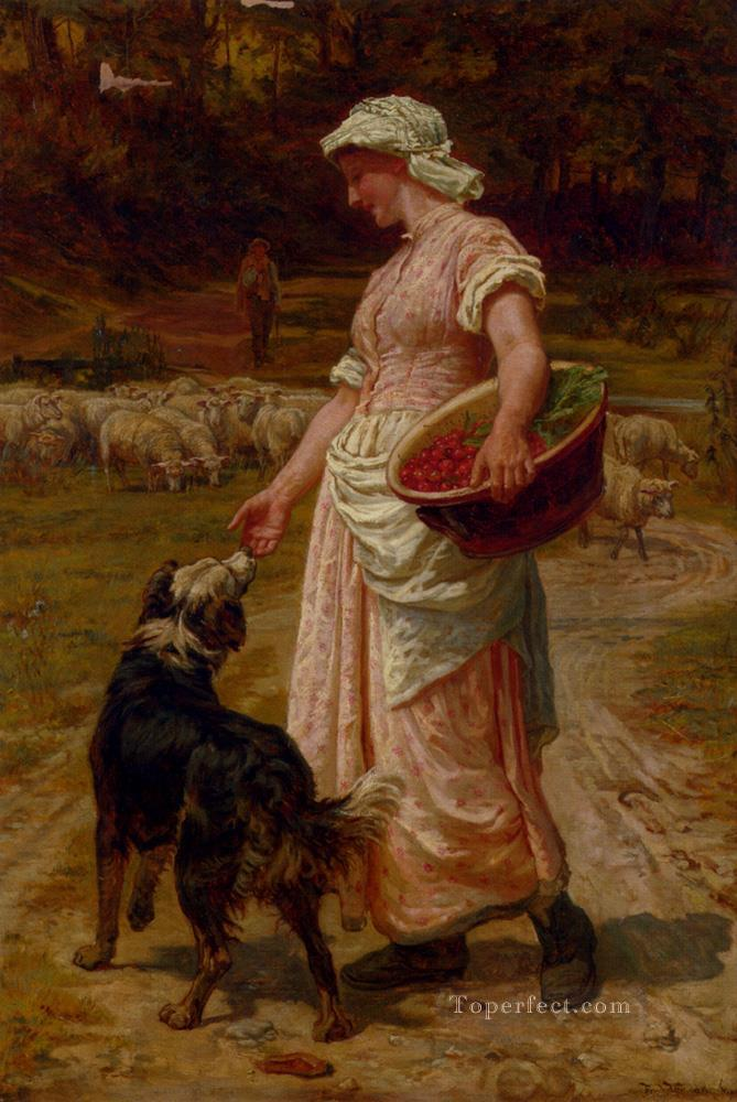 Love Me Love My Dog rural family Frederick E Morgan Oil Paintings
