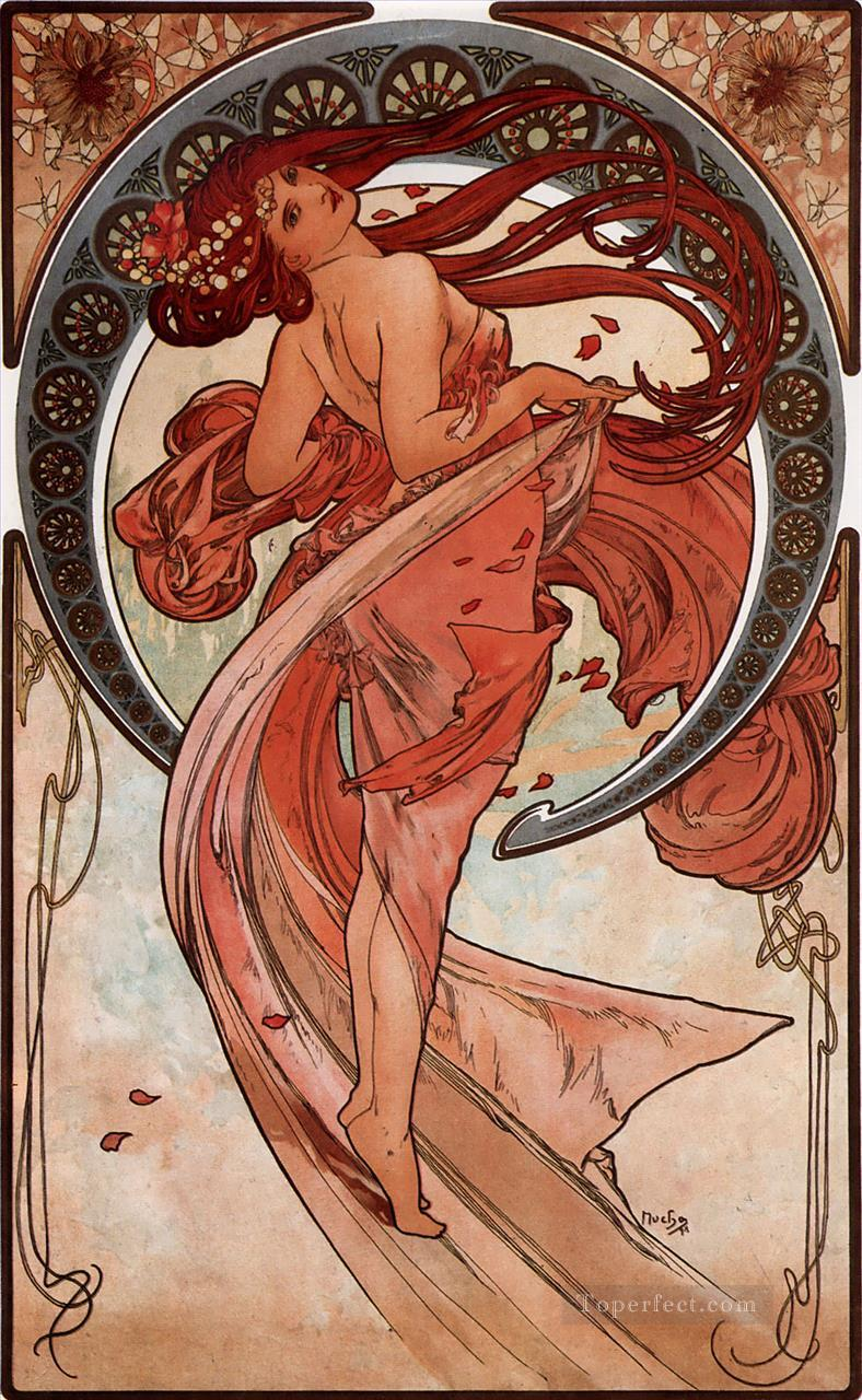 Dance 1898 Czech Art Nouveau distinct Alphonse Mucha Oil Paintings