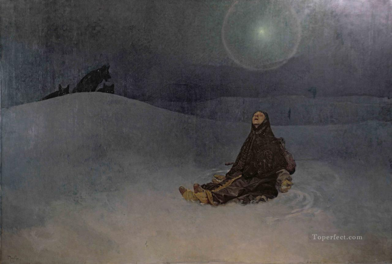 Star 1923 Winter Night Woman in Wildness wolf Alphonse Mucha Oil Paintings