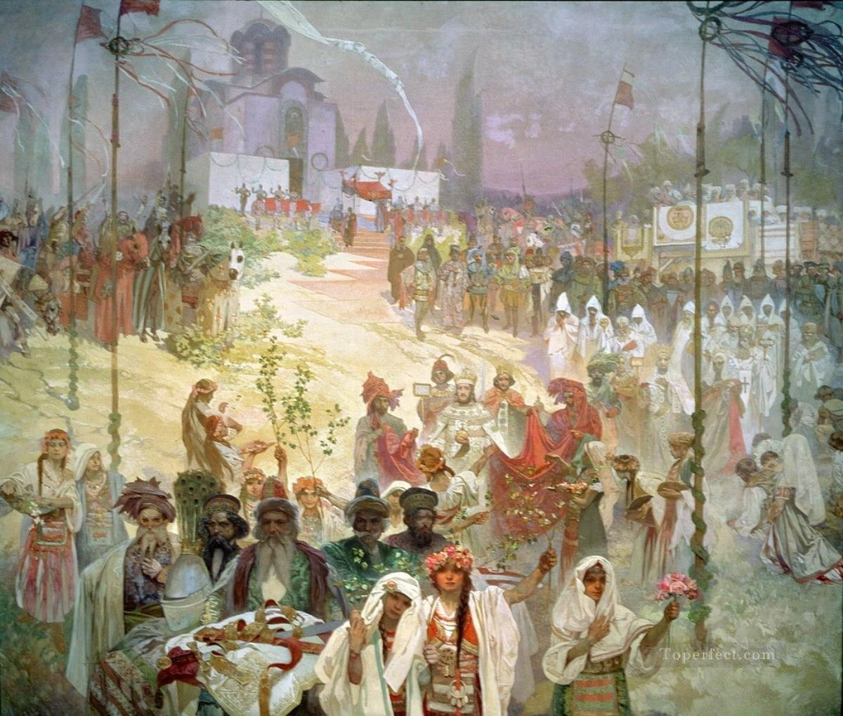 Coronation of Emperor Duaan in The Slavonic Epic Alphonse Mucha Oil Paintings