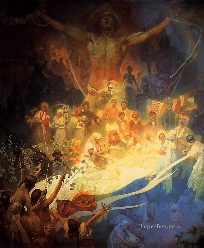 The Apotheosis of the Slavs 1926 Czech Art Nouveau Alphonse Mucha Oil Paintings