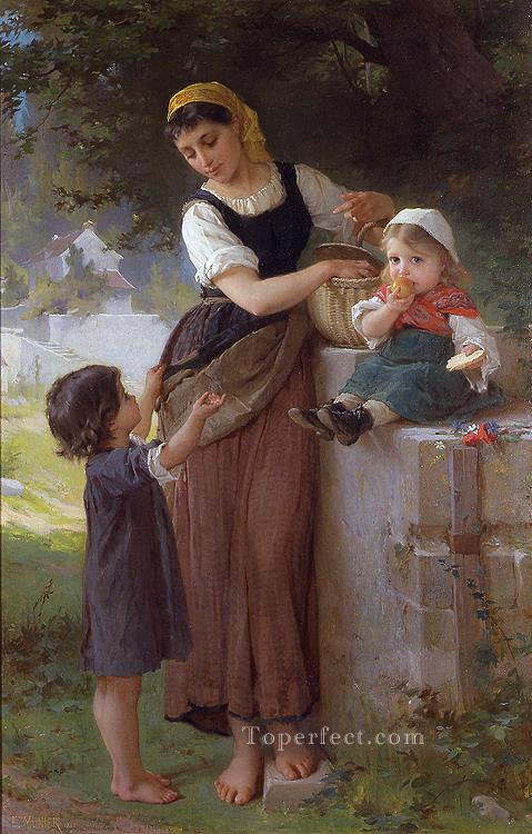 may i have one too Academic realism girl Emile Munier Oil Paintings