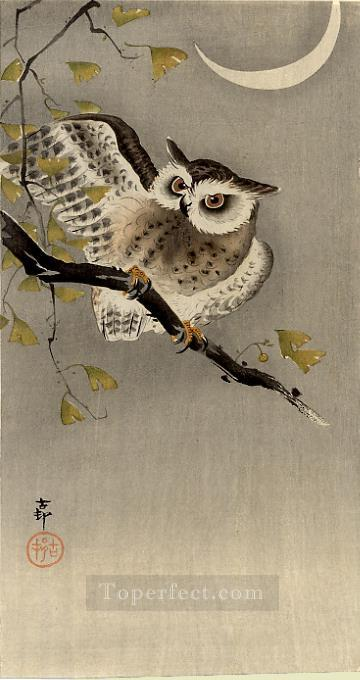 owl on ginkgo branch scops owl under crescent moon Ohara Koson Shin hanga Oil Paintings