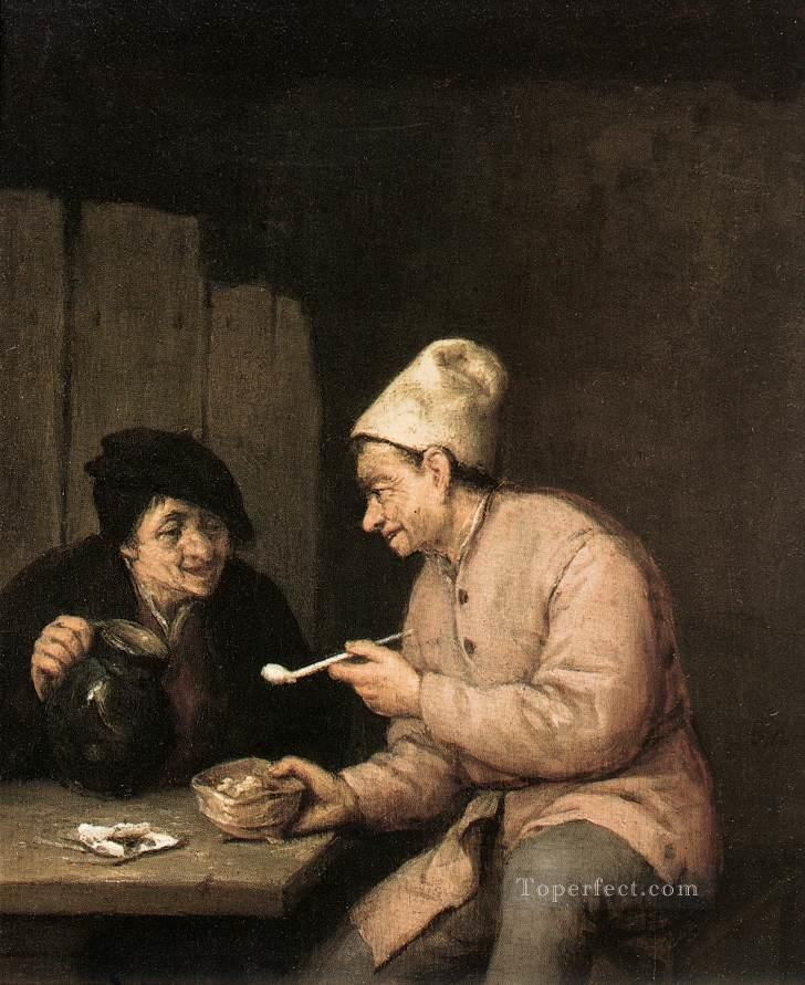Piping And Drinking In The Tavern Dutch genre painters Adriaen van Ostade Oil Paintings