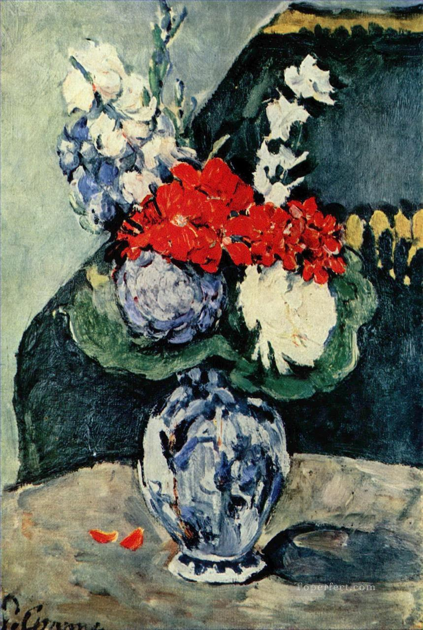 Still life Delft vase with flowers Paul Cezanne Oil Paintings