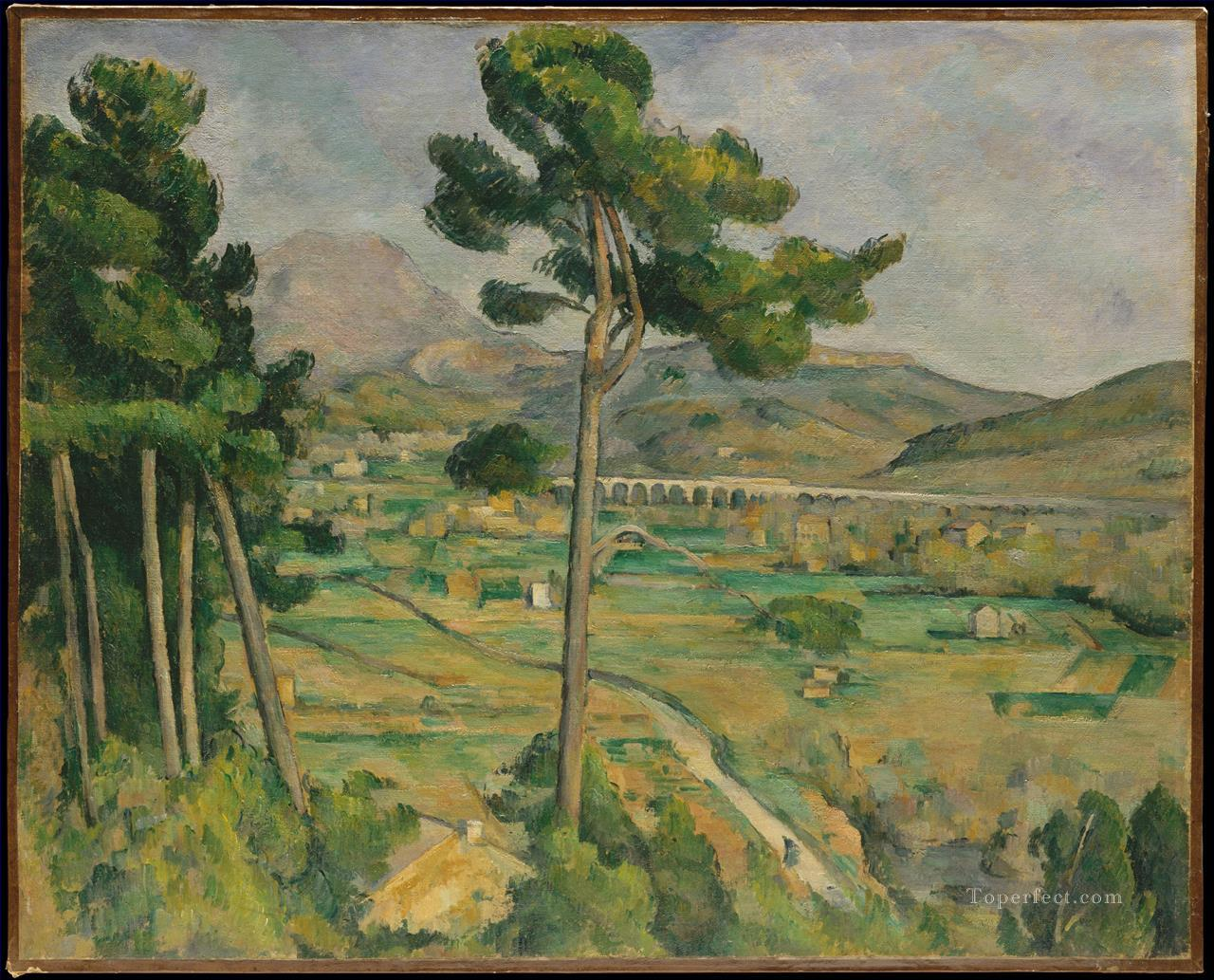 Landscape with viaduct Montagne Sainte Victoire Paul Cezanne Oil Paintings