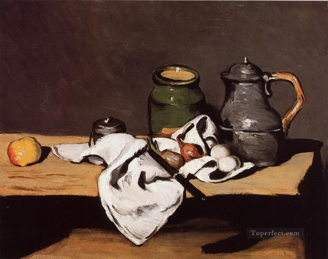 Still Life with Green Pot and Pewter Jug Paul Cezanne Oil Paintings