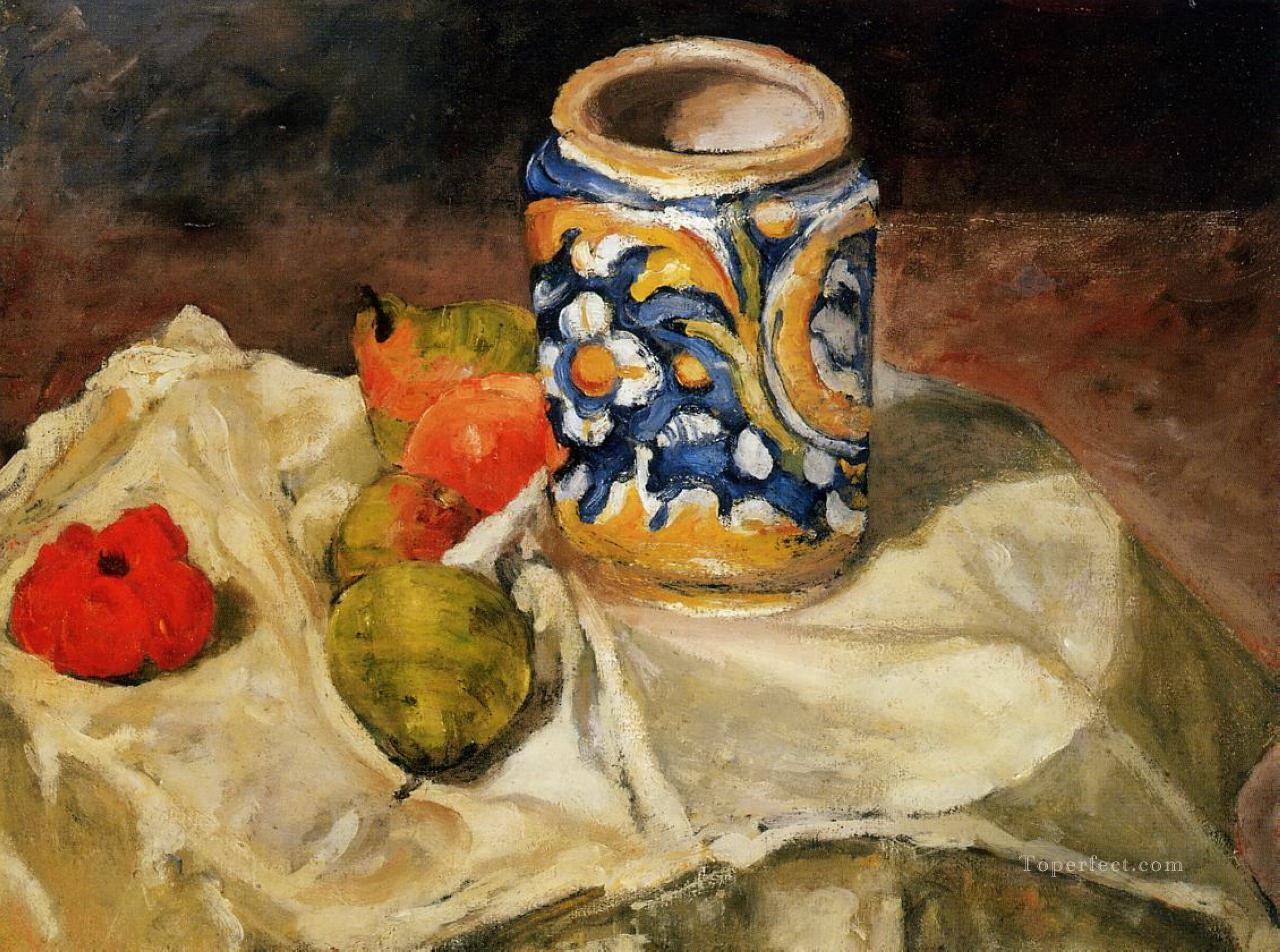 Still life with Italian earthenware jar Paul Cezanne Oil Paintings
