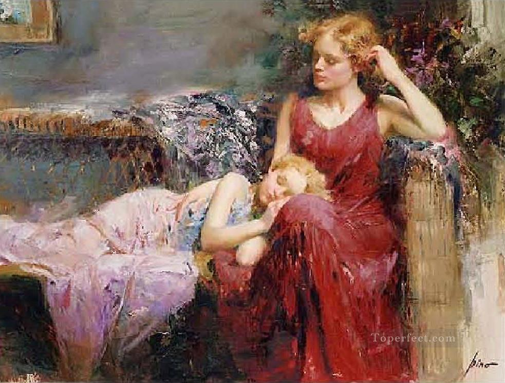 A Mother s Love lady painter Pino Daeni Oil Paintings