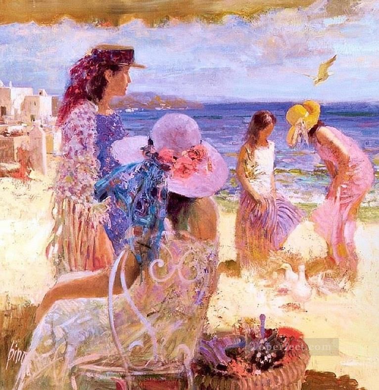 Ladies on Beach Pino Daeni Oil Paintings