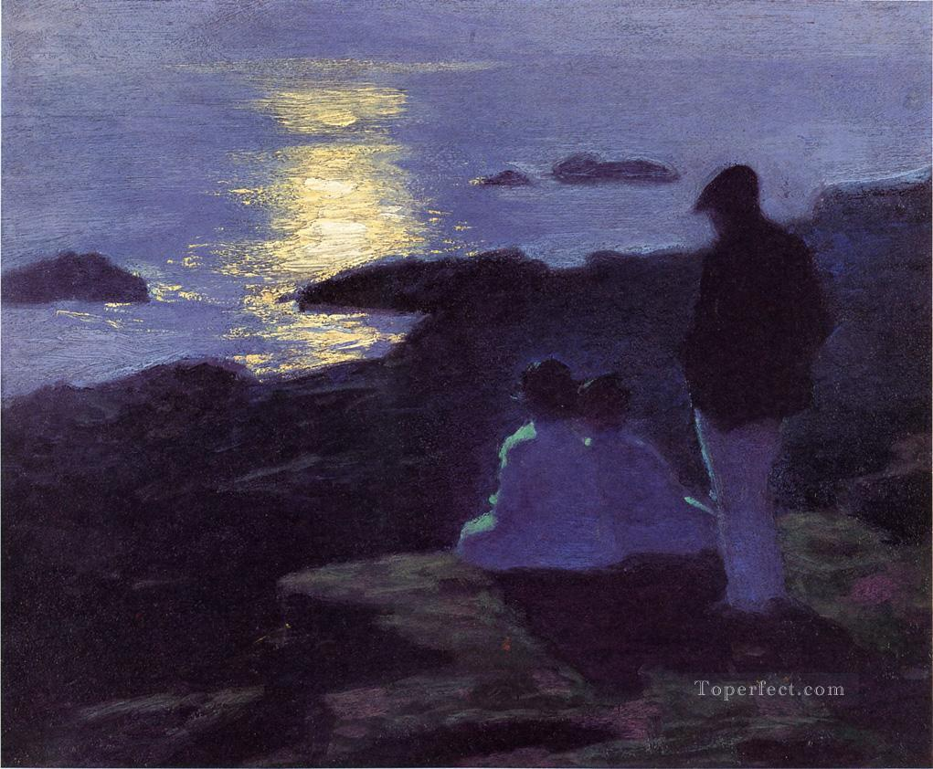 A Summers Night Impressionist beach Edward Henry Potthast Oil Paintings