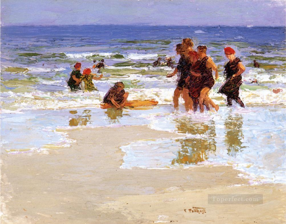 At the Seashore Impressionist beach Edward Henry Potthast Oil Paintings