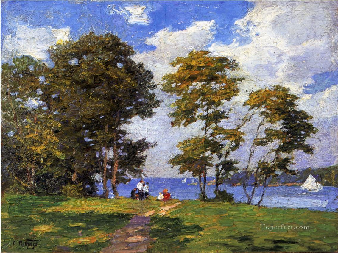 Landscape by the Shore aka The Picnic landscape beach Edward Henry Potthast Oil Paintings