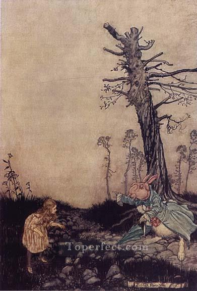 Alice in Wonderland Down the Rabbit Hole illustrator Arthur Rackham Oil Paintings
