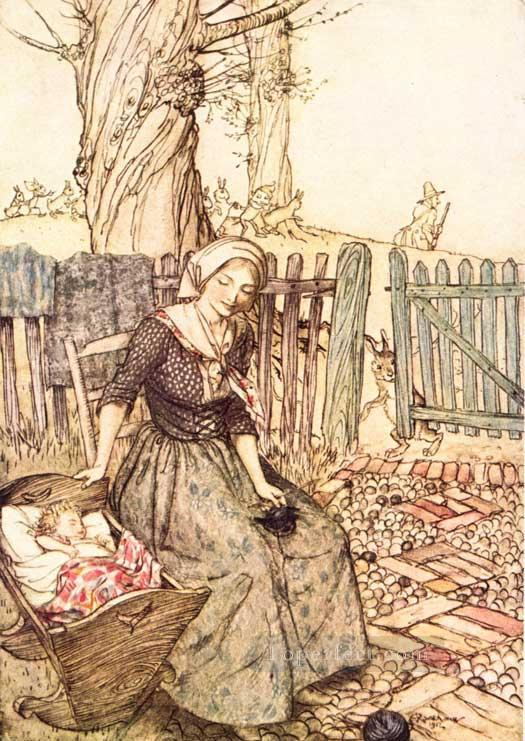 Mother Goose Bye Baby Bunting illustrator Arthur Rackham Oil Paintings