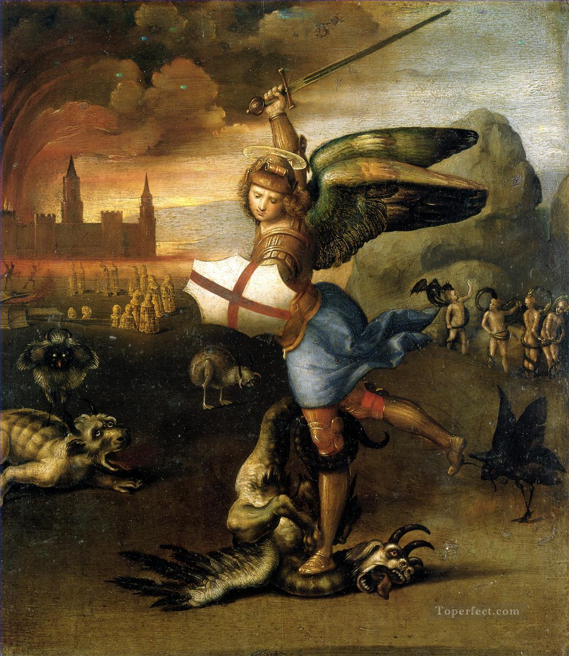 Saint Michael and the Dragon Renaissance master Raphael Oil Paintings
