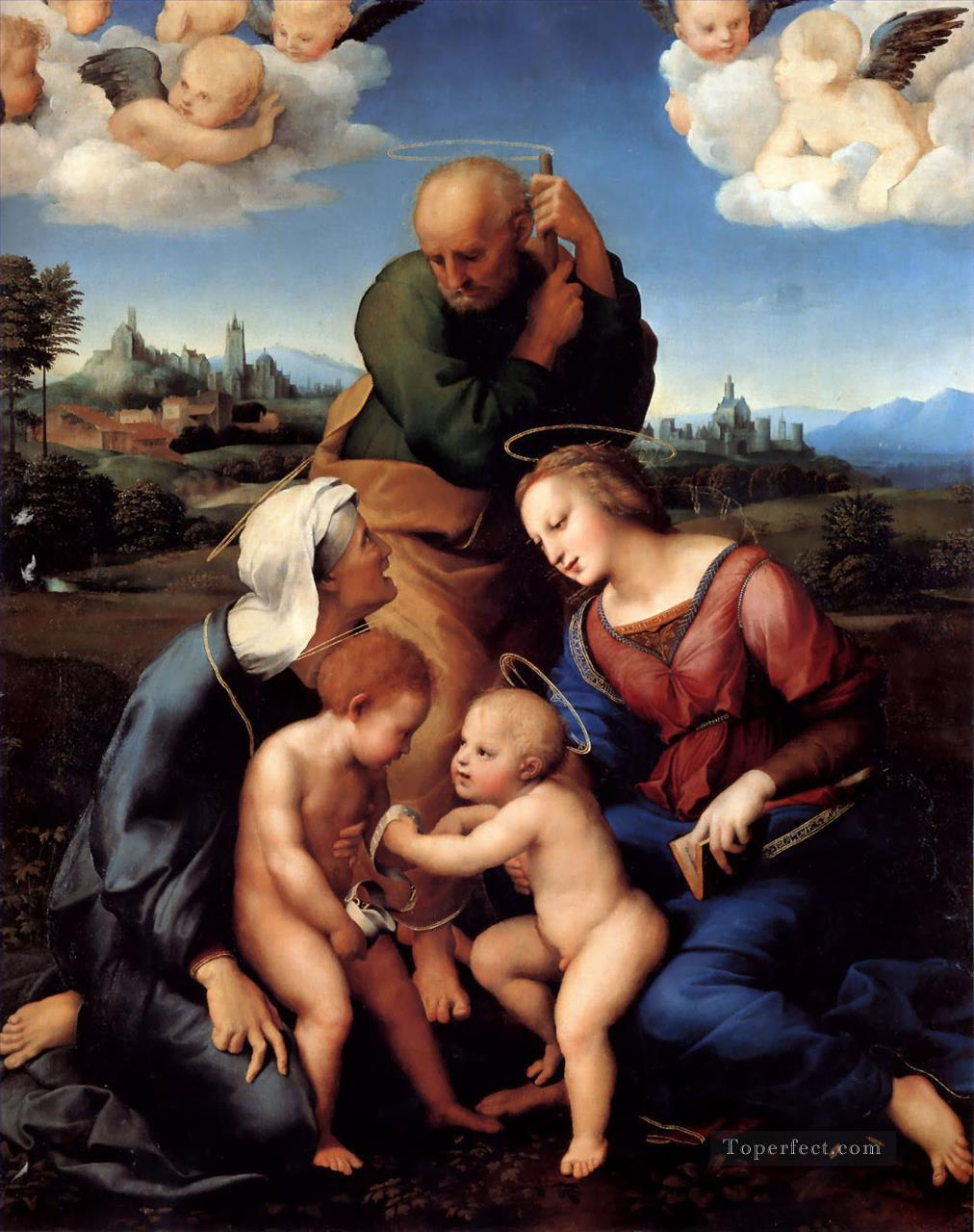 The Holy Family With Saints Elizabeth and John Renaissance master Raphael Oil Paintings