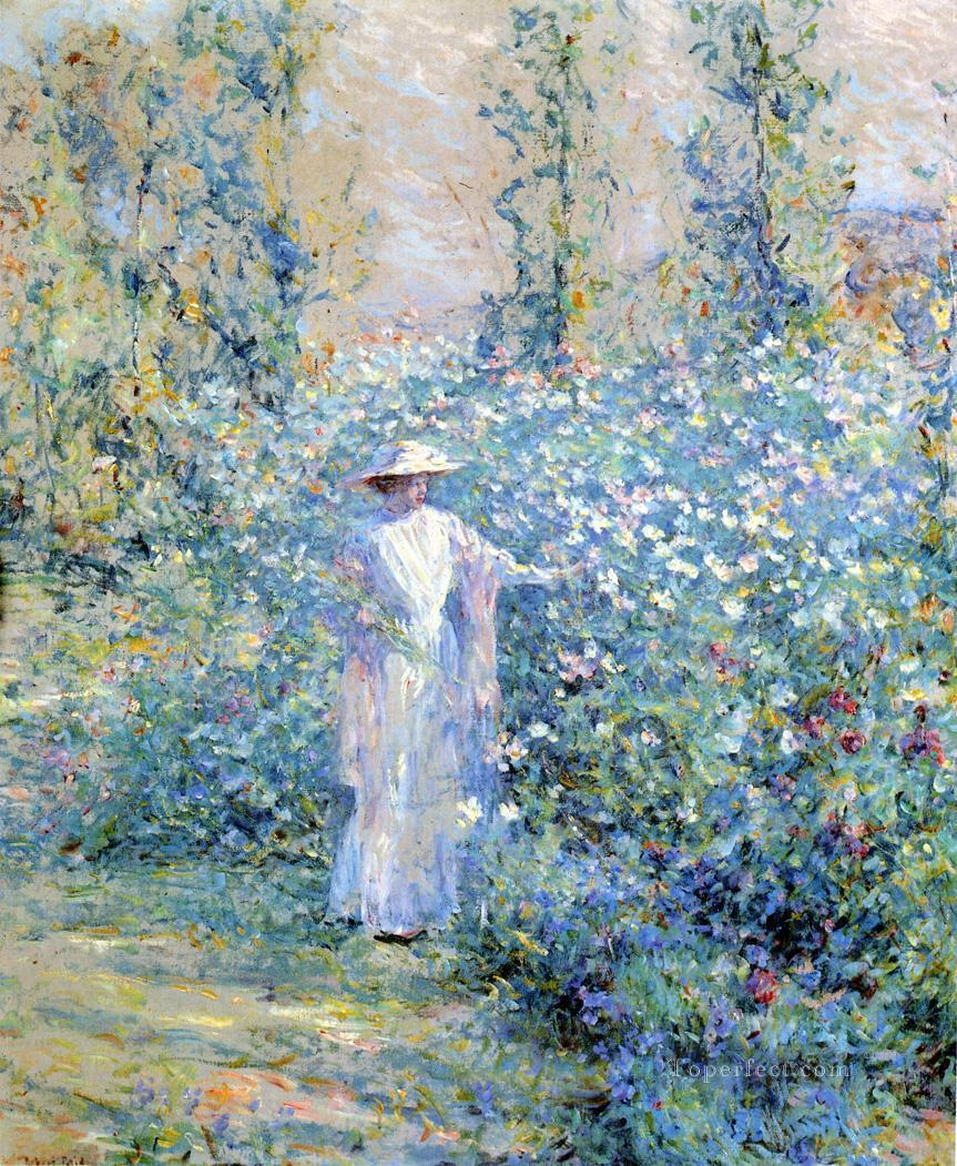 In The Flower Garden Lady Robert Reid Painting In Oil For Sale